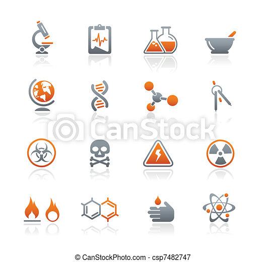 reeks, iconen, grafiet, /, wetenschap - csp7482747