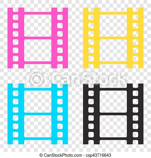 5ded91d65a79 Reel of film sign. cmyk icons on transparent background. cyan ...