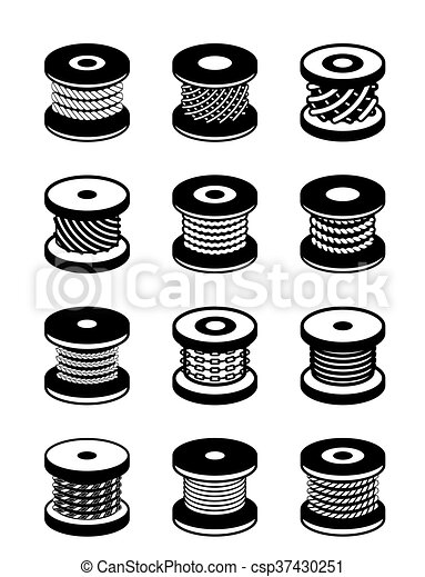 Reels with different ropes and wires - vector illustration clipart ...