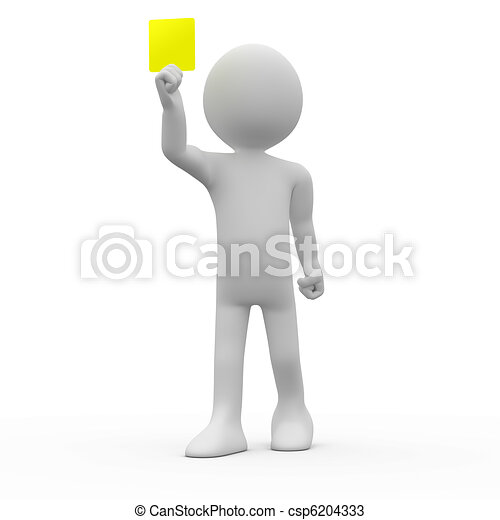 Referee showing yellow card - csp6204333