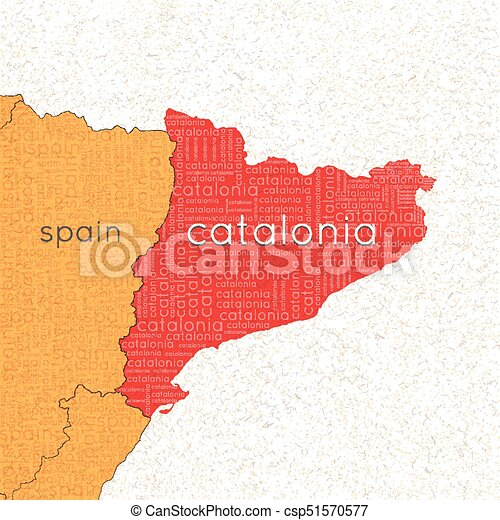 Map Of Spain And Catalonia.Referendum In Spain Independent Catalonia Map Of Spain A Cloud Of Words Vector Illustration
