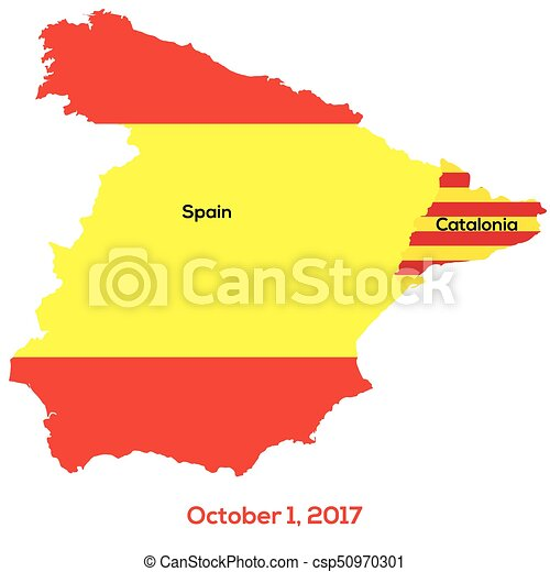 Map Of Spain And Catalonia.Referendum Spain Catalonia Vector Illustration