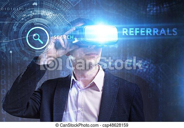 referrals, voit, réseau, fonctionnement, inscription:, concept., jeune, virtuel, business, internet, homme affaires, technologie, réalité, lunettes - csp48628159
