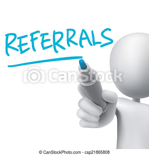 referrals word written by 3d man  - csp21865808