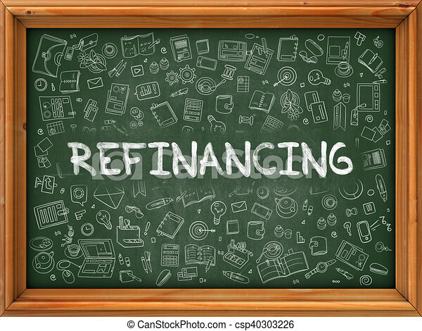 Refinancing Concept. Green Chalkboard with Doodle Icons. - csp40303226