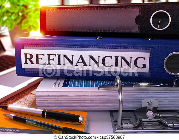 Refinancing on Blue Ring Binder. Blurred, Toned Image. - csp37583987