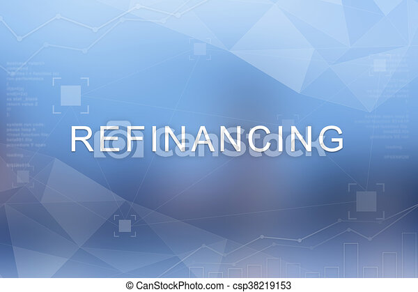 Refinancing word on blurred and polygon background - csp38219153