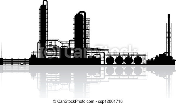 refinaria, planta, óleo, silueta - csp12801718
