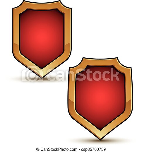 Refined vector red shield shape emblems with golden borders, 3d polygonal design elements, clear EPS 8. - csp35760759