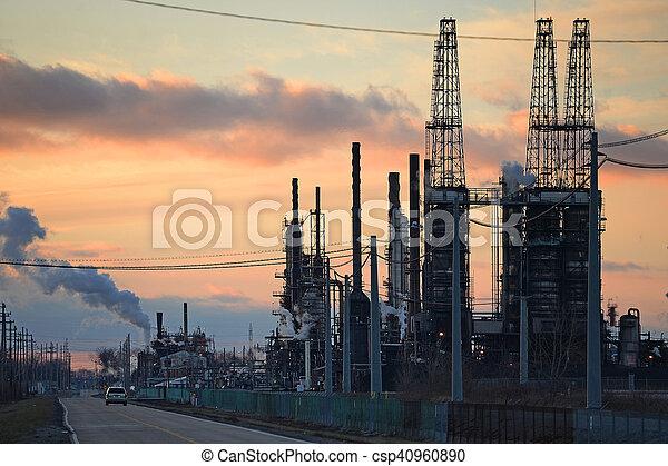 refinería, aceite, ocaso - csp40960890