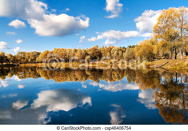 reflected in a forest lake autumn trees - csp46406754