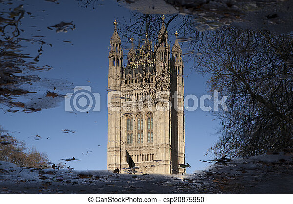 Reflection of Houses of Parliament, Westminster; London - csp20875950