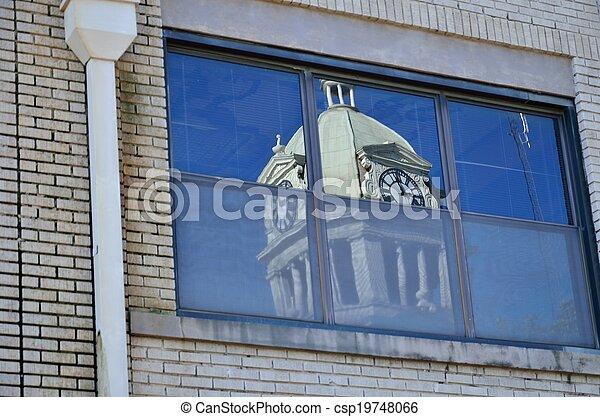 Reflection of Leflore Courthouse - csp19748066