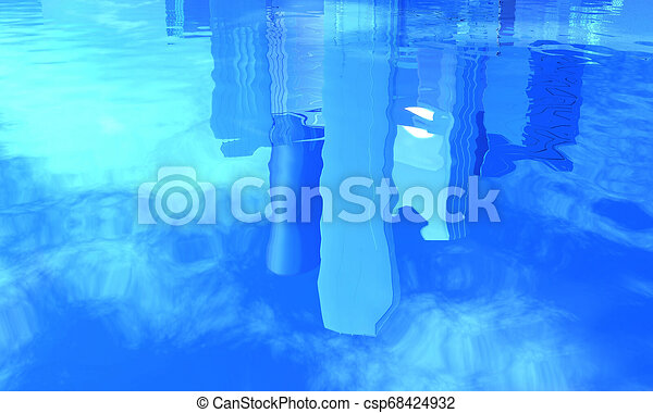 reflection of office buildings in water - csp68424932