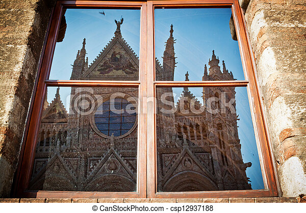 Reflection of the Duomo of Siena - csp12937188