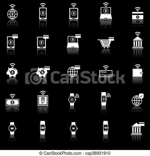 iconos de Fintech con reflexión sobre el fondo negro - csp38901910