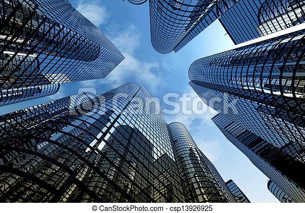 reflektierend, wolkenkratzer, geschäftsbüro, gebäude. - csp13926925