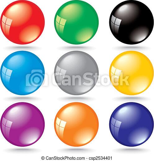 Brillantes burbujas de colores con reflejo de ventana - csp2534401