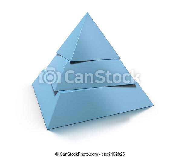 Pirámide 3D, tres niveles sobre fondo blanco con brillante reflejo y sombra - csp9402825