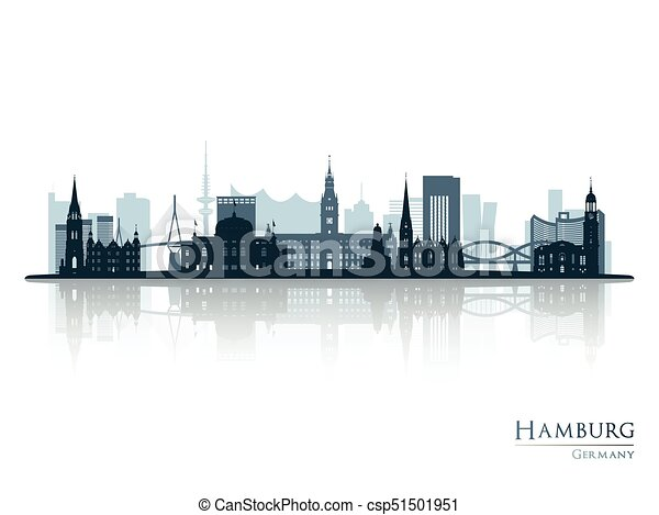 reflexion skyline silhouette hamburg silhouette illustration reflexion skyline vektor. Black Bedroom Furniture Sets. Home Design Ideas