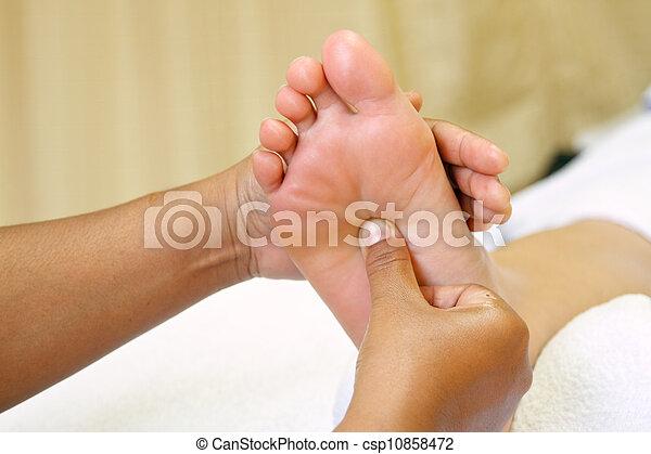 reflexology foot massage, spa foot - csp10858472
