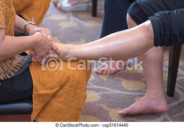 reflexology, tratamento, pé, spa, tailandês, massagem - csp31614440