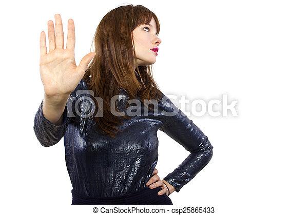 Una chica con un vestido brillante diciendo que no - csp25865433
