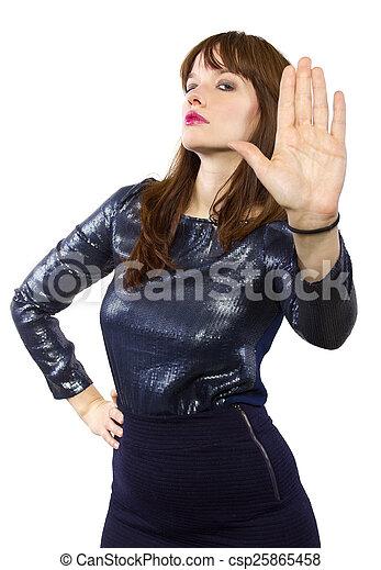 Una chica con un vestido brillante diciendo que no - csp25865458