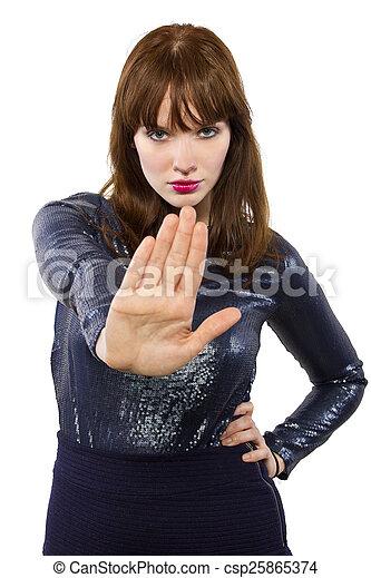 Una chica con un vestido brillante diciendo que no - csp25865374