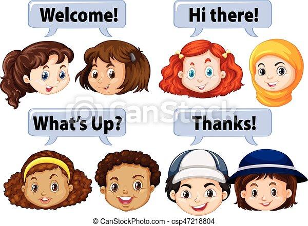 refrán, niños, palabras, cortés - csp47218804