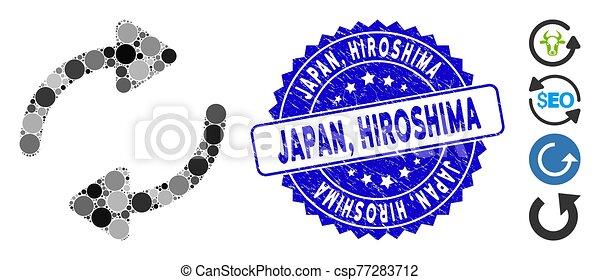 refrescar, icono, japón, grunge, hiroshima, sello, mosaico - csp77283712