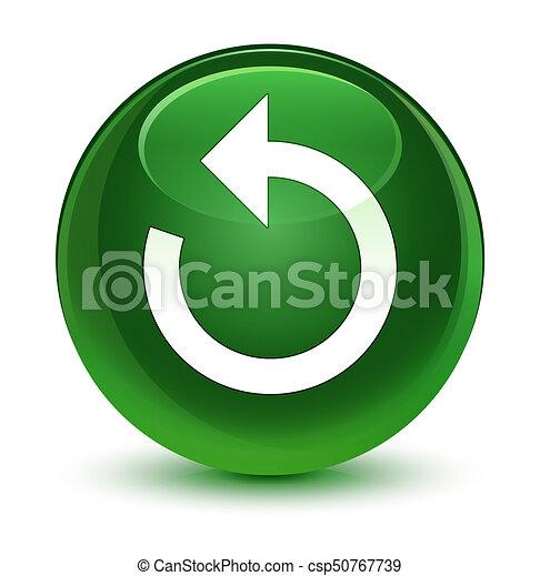 Refresh arrow icon glassy soft green round button - csp50767739