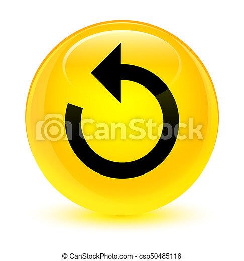 Refresh arrow icon glassy yellow round button - csp50485116