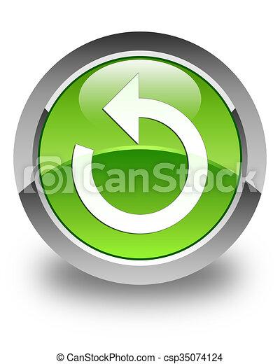 Refresh arrow icon glossy green round button - csp35074124