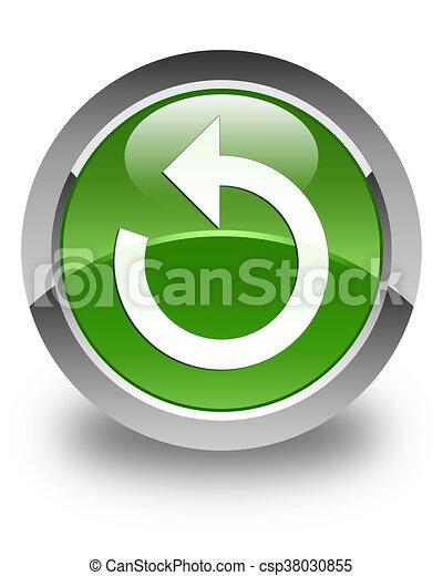 Refresh arrow icon glossy soft green round button - csp38030855