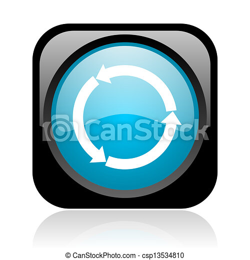 refresh black and blue square web glossy icon - csp13534810