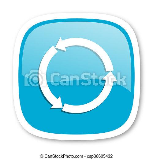 refresh blue glossy web icon - csp36605432