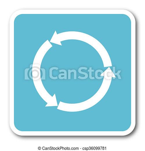 refresh blue square internet flat design icon - csp36099781