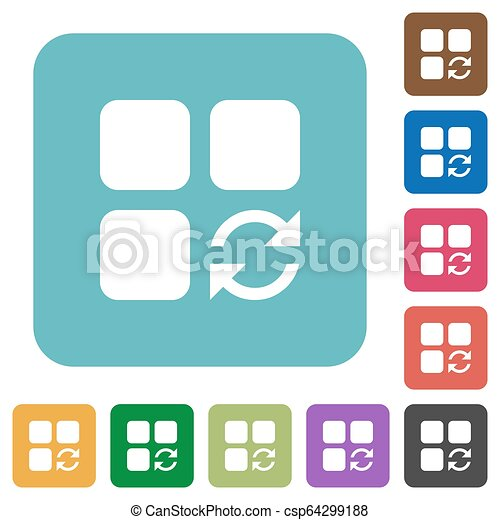 Refresh component rounded square flat icons - csp64299188