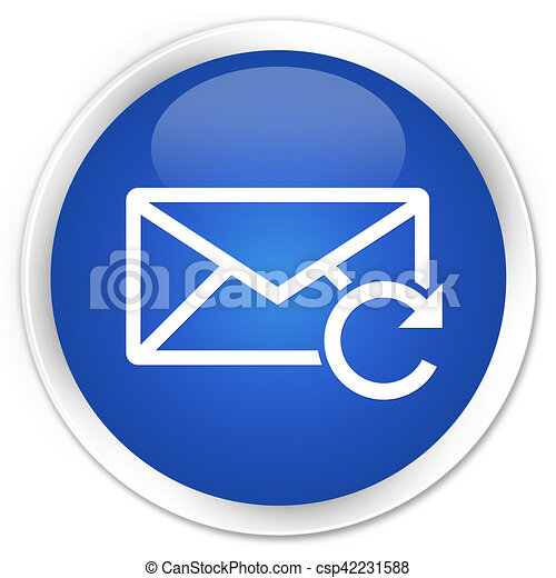 Refresh email icon blue glossy round button - csp42231588