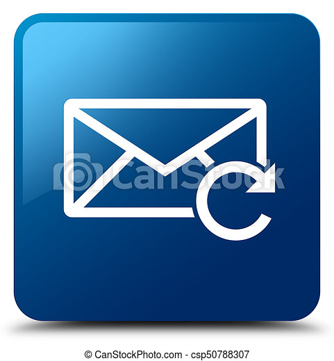 Refresh email icon blue square button - csp50788307