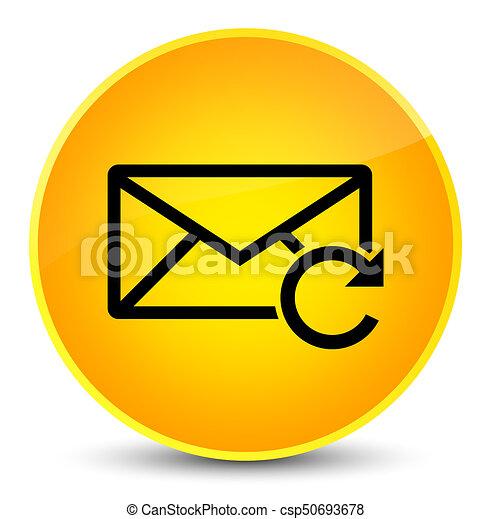 Refresh email icon elegant yellow round button - csp50693678