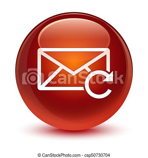 Refresh email icon glassy brown round button - csp50730704