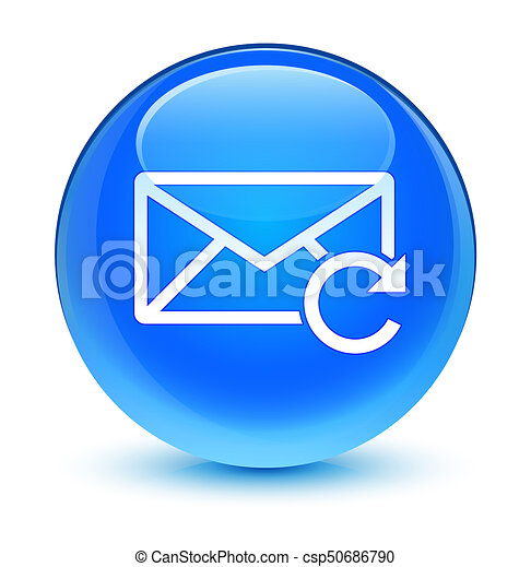 Refresh email icon glassy cyan blue round button - csp50686790