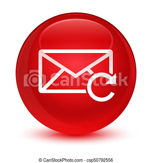 Refresh email icon glassy red round button - csp50792556