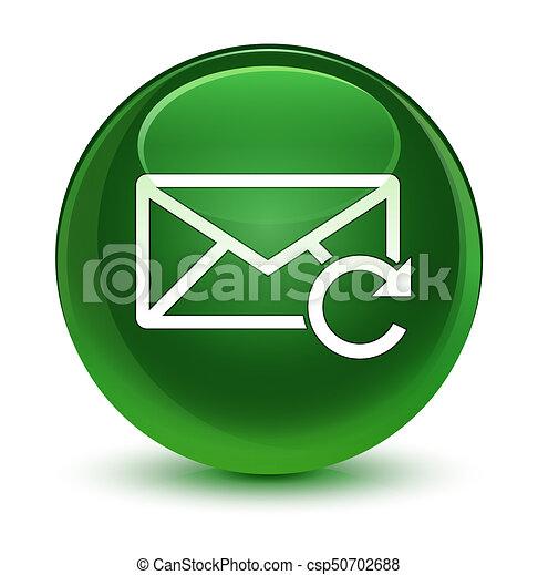 Refresh email icon glassy soft green round button - csp50702688