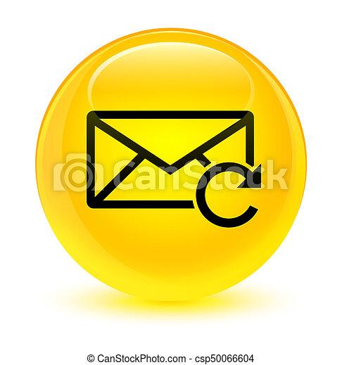 Refresh email icon glassy yellow round button - csp50066604