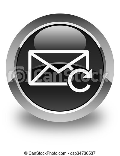 Refresh email icon glossy black round button - csp34736537