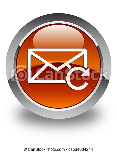 Refresh email icon glossy brown round button - csp34684244