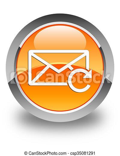 Refresh email icon glossy orange round button - csp35081291
